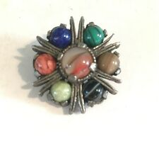 Vintage Signed MIRACLE Glass Agate Lapis Connemara Colourful Scottish Pin Brooch