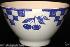 MOULIN DES LOUPS FRANCE MDF6 SOUP CEREAL BOWL 20 OZ BLUE CHECKERBOARD & CHERRIES