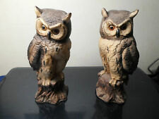 Vintage 2 Owls Flambro Figurines Porcelain Statue Stickers on Bottom
