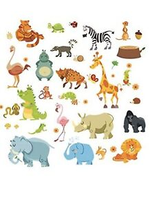 Wall Stickers Animal Jungle Zoo Nursery Baby Kids Room Decal AU