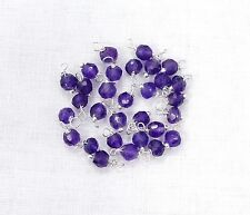 50 Pcs Natural Amethyst Faceted 925 Silver Plated Wire Wrapped Link Loose Beads.