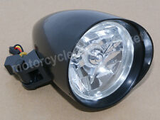 "Black 4-1/2"" Bullet Headlight Harley Sportster XL Dyna Softail Chopper Bobber"