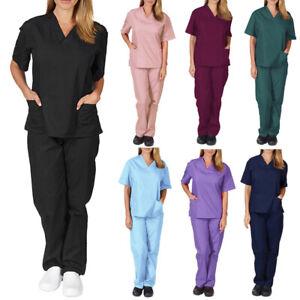 2Pcs/Set Medical Women Nursing Scrub Suit Nurse Uniform T-Shirt Tops Pants Set