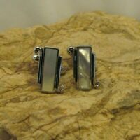 VINTAGE ESTATE Mens Cuff Links CUFFLINKS Silver Tone Mother of Pearl #3 UNIQUE