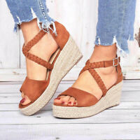 Fashion Women Ladies Buckle Casual Wedges Shoes Braided Strap Heel Sandals Size