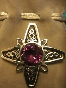 Vintage Scottish Celtic Silver Cross Broach With Amethyst Central Stone.