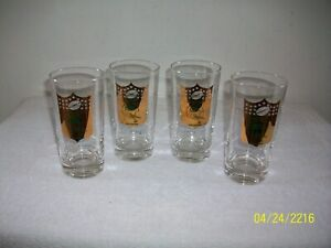 """Vintage 1967 Green Bay Packers Gold Label 5 1/2"""" Inch Glasses  Qty 4"""