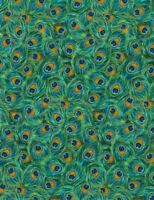Plume Fabric - Metallic Peacock Feather Blue Green - Timeless Treasures YARD