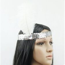 SILVER FLAPPER HEADBAND Fascinator Gatsby Vintage 1920s Accessory Lady Costume