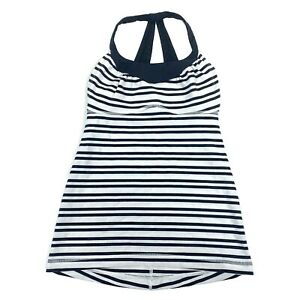 Lululemon Black White Striped Yoga Athletic Tank Top Womens Size 4