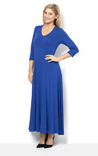 Join Clothes 3/4 Sleeve V Neck Maxi Dress Grecian Blue S