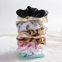 Silky Satin Hairtie Scrunchies Elastic Candy Color Hair Tie Rope Ring Ponytail #