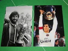 2 Dennis Mortimer Signed Aston Villa Photos 1981 Champions & 1982 European Cup