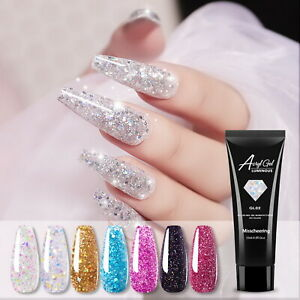15ml Nail Gel Shiny Sequin Diamond UV Builder Gel Quick Nail Art Poly Nail Glue
