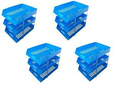 12 BLUE A4 Letter Filing In Out Desk Trays + 8 Risers Stacking Paper Office