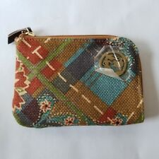 Spartina Wallet Linen Leather Plaid Mermaid Charm Fall Colors 4 x 6""
