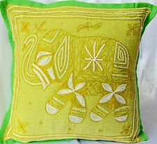 Green Elephant Cushion Covers INDIAN Handmade Cotton Embroidered Sequins 40cm