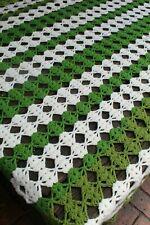 Vintage Handmade Cotton Crochet Open Weave Afghan/Throw Moss Green  Ivory