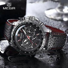 MEGIR Black Dial Army Military Leather Band Men Business Quartz Wrist Watch Gift