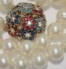 VINTAGE CINER TURQUOISE SAPPHIRE RUBY CRYSTAL RHINESTONE FLOWER PEARL NECKLACE