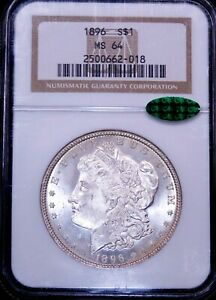 1896 P Morgan Silver Dollar NGC MS64 CAC White Frosty Luster PQ #GE742
