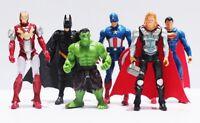 6PCS -Marvel Avengers Super Hero Figures Toys Cake Toppers Hulk Batman Super Man