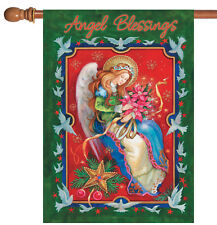 New listing New Toland - Angel Poinsettia - Religious Holiday Dove Christmas House Flag