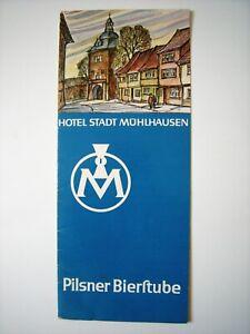 Speisekarte Hotel Stadt MühlhausenPilsner Bierstube DDR
