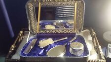 Antique Dresser Set~ Mirror~Brush~Comb~Glass jar~Mirrored Tray~ In Case