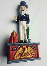 Vintage Metal Mechanical Uncle Sam Coin Piggy Bank reproduction