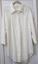 Women's plus size 2X long sleeve off-white top by  Coldwater Creek NWT