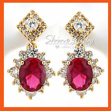 18K YELLOW GOLD GF SOLID VINTAGE CREAT RUBY DIAMOND CLUSTER DROP DRESS EARRINGS