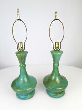 """Pair of Mid Century 1963 15 3/4"""" Glazed Turquoise & Brown Ceramic Lamps Signed"""
