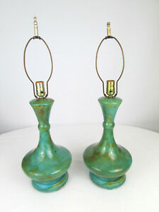 "Pair of Mid Century 1963 15 3/4"" Glazed Turquoise & Brown Ceramic Lamps Signed"