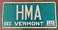 """1971 Vintage """"See Vermont"""" License Plate Bright Green with 3 White Letters # HMA"""