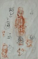 Character Studies Drawings in Pen / Ink French or Belgian School Unsigned c1900s