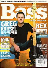 BASS Guitar Magazine 81 August 2012 GREG KRIESEL Rex Brown Ron Blair John Leven