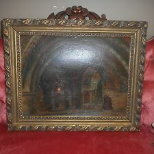 Vintage Oil Painting On Board-CHURCH VATICAN INTERIOR-Luigi Sciocchetti Listed
