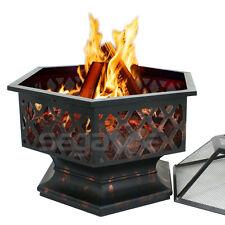 Hex Shaped Fire Pit Fireplace Firepit Bronze Finish Outdoor Home Garden Backyard