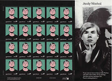 ANDY WARHOL STAMP SHEET -- USA #3652 37 CENT 2002 ART