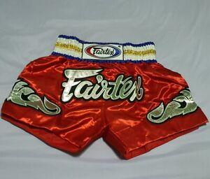 SHORTS FAIRTEX BS0651 MUAY THAI FIGHT BOXING MMA RED SIZE L SATIN ADULT