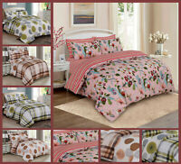 4 Pcs Complete Bedding Set Duvet Cover Poly Cotton Fitted Sheet Pillowcase
