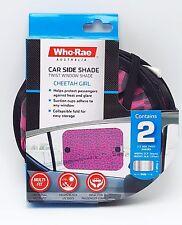 2 Car Baby Girl Window Twist Shades Pink Cheetah Print 17x14 inch UV Heat Block