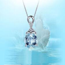 Lady Women Chain Jewelry Gemstone Silver Natural Aquamarine Pendant Necklace