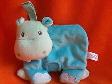 "Tesco Blue Hippo Baby Cloth Activity Book Soft Toy Plush 6.5"" across"