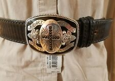 Brighton New Brown Black Vintage Sacred Rose Leather Belt Size 32 NWT B21148