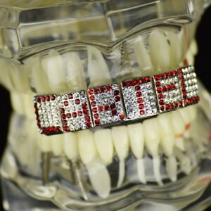 Red Grillz Customized Name 6 Letters Personalized Custom Made Top Teeth Grills