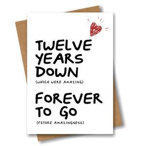 12th Anniversary Card - Husband Wife Boyfriend Girlfriend Fiance 12 year Wedding