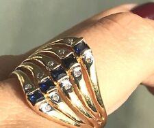 GOLD 14k Ring yellow Semanario NATRUAL Sapphire Diamond 7 5 6 8 9 5.6g