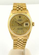 Vintage 1969 18k Gold Rolex Datejust Watch ref 1601 on Original Jubilee Bracelet